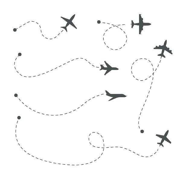Caminhos planos. conjunto de vetores de rotas aéreas, silhuetas de avião e trilhas pontilhadas. ilustração de rota de avião no céu, linha de vôo de silhueta de avião