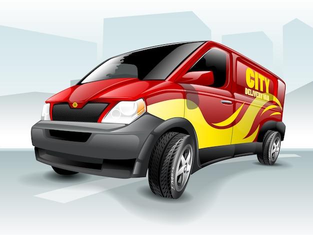 Camionete de entrega dos desenhos animados com tema abstrato do fundo.