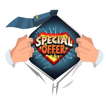 Camisa aberta homem para mostrar oferta especial