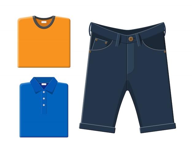 Camisa azul, camiseta laranja, shorts jeans.