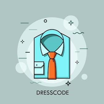 Camisa azul dobrada e gravata. roupas de negócios, roupas de escritório elegantes e casuais, roupas e moda de trabalho, roupas formais. conceito de código de vestimenta.