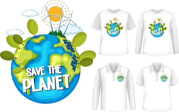 Camisa com design salve o planeta