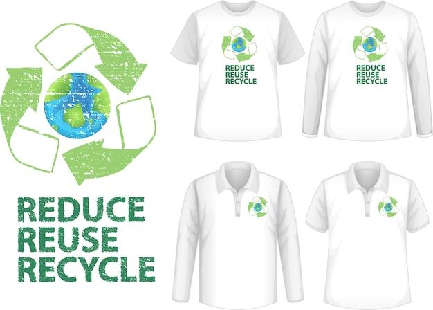 Camisa com ícone de reciclagem
