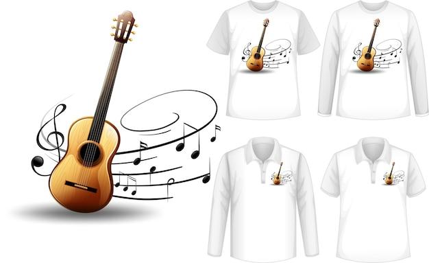 Camisa com ilustração de instrumentos musicais de guitarra