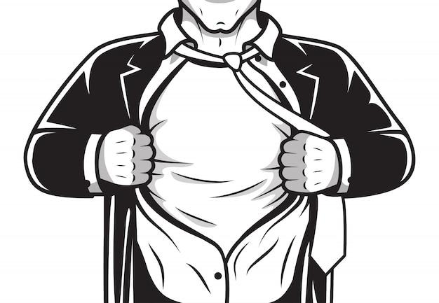 Camisa de abertura de herói em quadrinhos