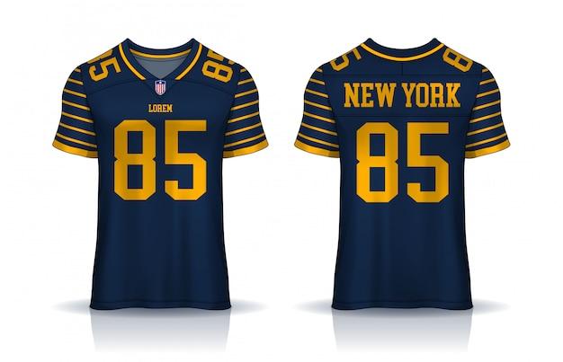 Camisa de futebol americano, modelo de design de esporte de t-shirt. frente uniforme e vista traseira.
