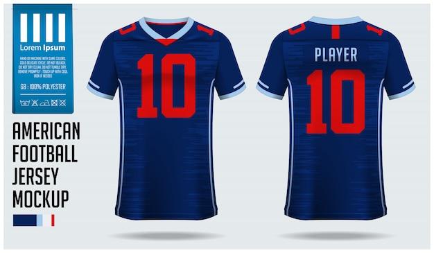 Camisa de futebol americano ou modelo de kit de futebol
