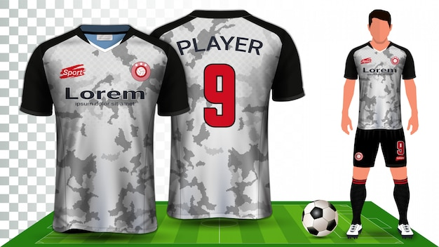 Camisa de futebol, camisa esportiva ou futebol uniforme kit apresentação.