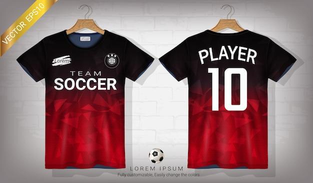 Camisa de futebol e modelo de maquete de esporte de t-shirt