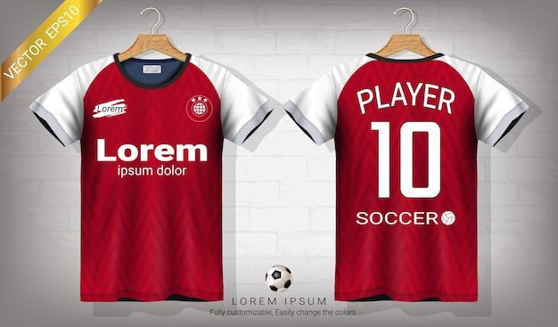 Camisa de futebol e modelo de maquete de esporte de t-shirt Vetor Premium