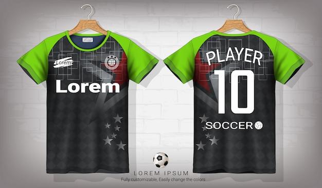 Camisa de futebol e t-shirt modelo de maquete do esporte. 5c36aa35ac44c