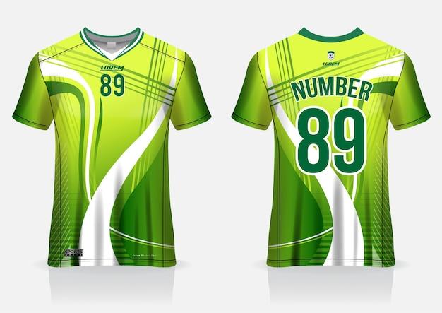 Camisa de futebol esporte modelo uniforme vista frontal e traseira