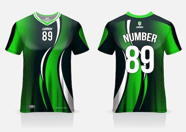 Camisa de futebol esporte modelo uniforme vista frontal e traseira Vetor Premium