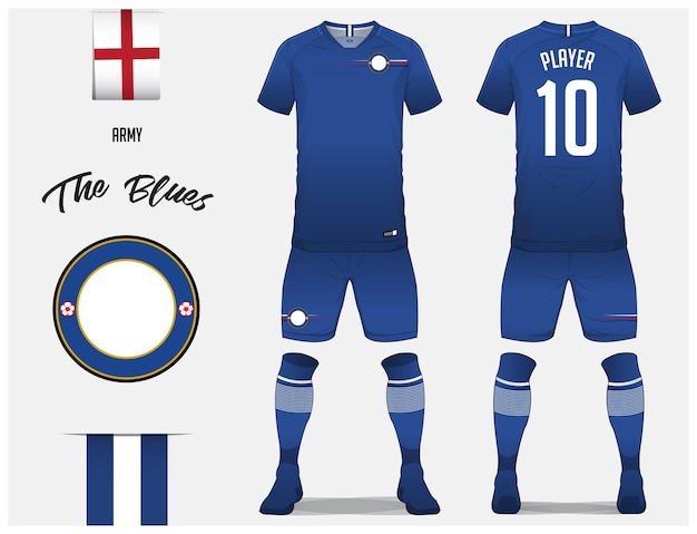 Camisa de futebol ou modelo de kit de futebol