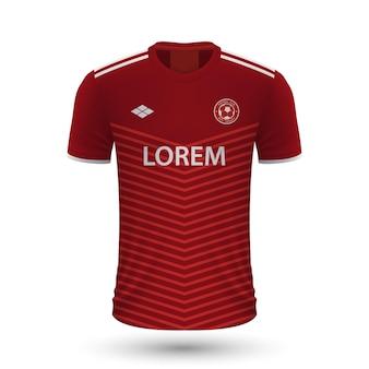 Camisa de futebol realista 2022, modelo de camisa para kit de futebol.