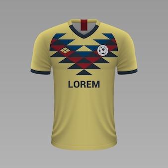 Camisa de futebol realista américa méxico, modelo de camisa para kit de futebol