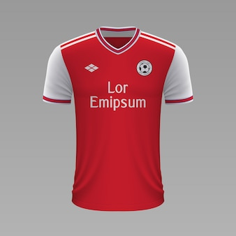 Camisa de futebol realista arsenal, modelo de camisa para o kit de futebol.
