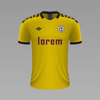 Camisa de futebol realista borussia dortmund, modelo de camisa para kit de futebol