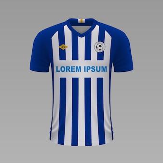 Camisa de futebol realista brighton, modelo de camisa para o kit de futebol.
