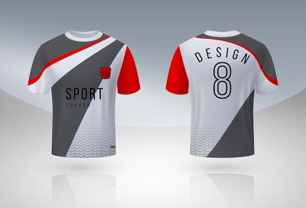 Camisa de futebol realista. design de uniforme esporte jersey, modelo de design de camiseta do time de futebol 3d.