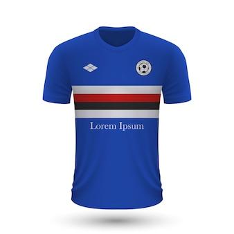 Camisa de futebol realista sampdoria 2022, modelo de camisa para footb