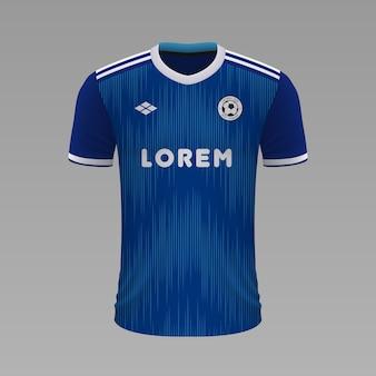 Camisa de futebol realista strasbourg, modelo de camisa para o kit de futebol.