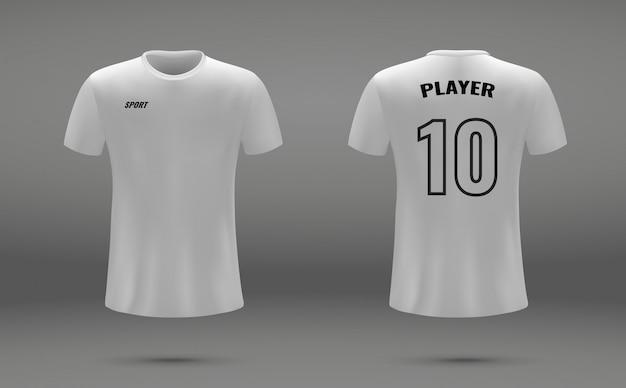 Camisa de futebol realista, t-shirt, modelo uniforme para futebol
