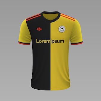 Camisa de futebol realista watford, modelo de camisa para kit de futebol.