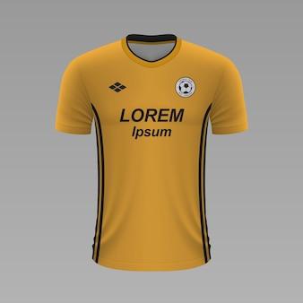 Camisa de futebol realista wolverhampton, modelo de camisa para o kit de futebol.