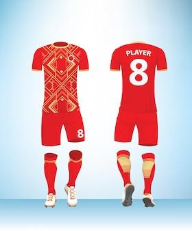 Camisa de futebol t-shirt de futebol vermelho ouro