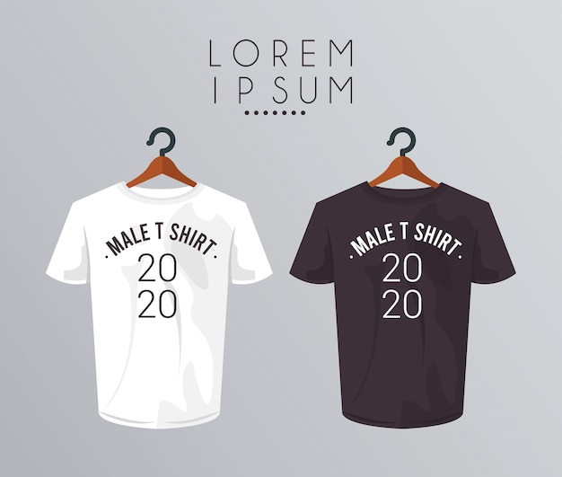 Camisa de maquete em prendedor de roupa e número 2020.
