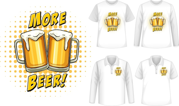 Camisa de mock up com logotipo da cerveja