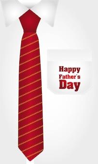 Camisa de negócios com gravata vermelha feliz dia dos pais