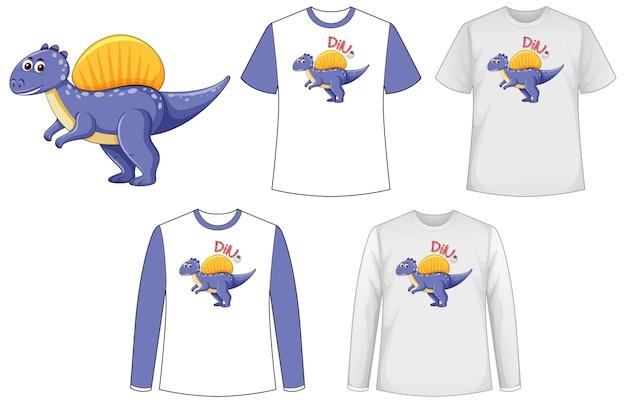 Camisa de simulação com personagem de desenho animado de dinossauro