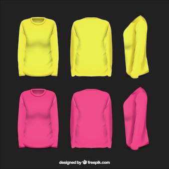 Camisa feminina em diferentes pontos de vista com estilo realista