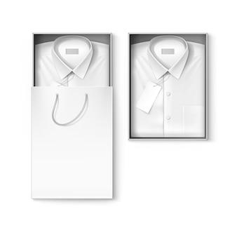 Camisa masculina branca clássica em caixa de embalagem e sacola de compras