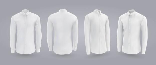Camisa masculina branca com botões na frente, traseira e vista lateral.