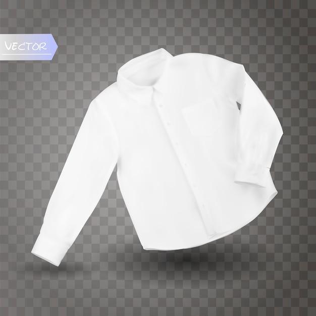Camisa masculina branca com mangas compridas e botões na frente, isolado