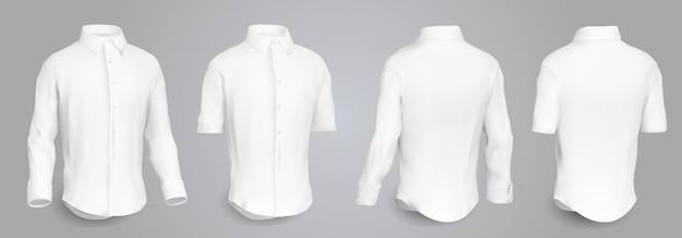 Camisa masculina branca com mangas longas e curtas e botões na frente, vista traseira e lateral