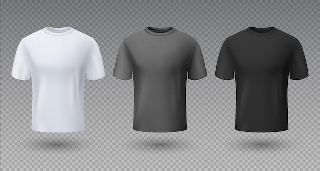 Camisa masculina realista. t-shirt branca preta e cinza maquete 3d, modelo em branco, roupas unissex limpas esportivas