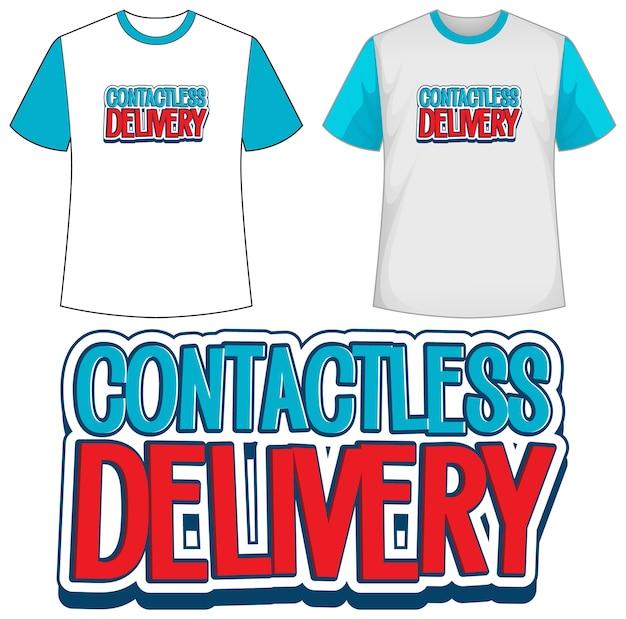 Camisa modelo com ícone de entrega sem contato