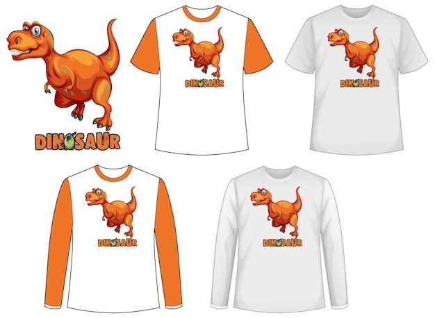 Camisa modelo com personagem de desenho animado de dinossauro