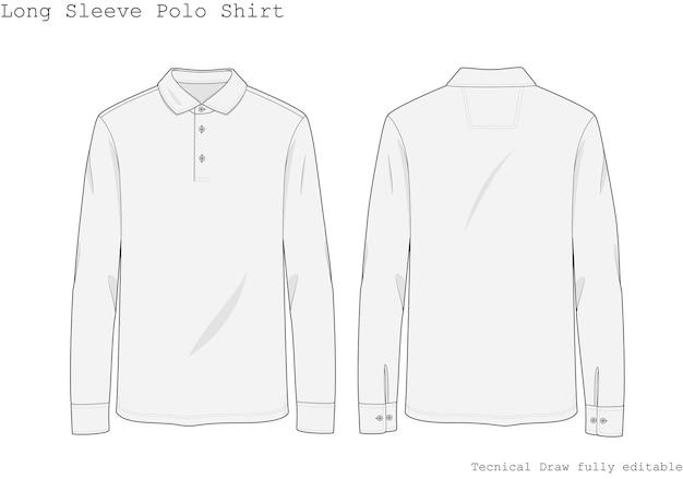 Camisa pólo de manga comprida desenhada à mão