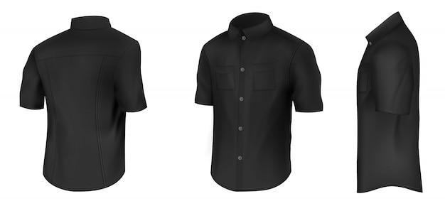 Camisa preta clássica masculina vazia com mangas curtas