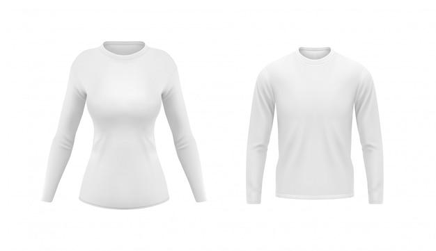 Camisas brancas com mangas compridas para homens e mulheres