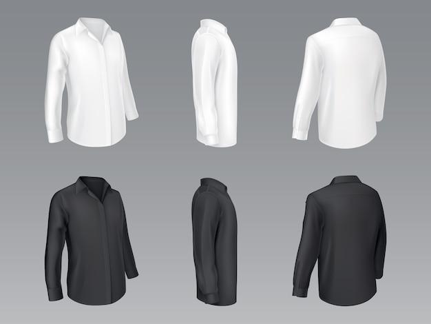 Camisas clássicas dos homens preto e branco, blusa