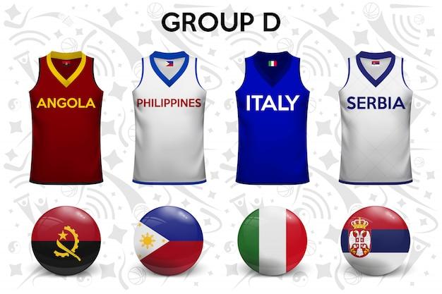 Camisas de basquete. conjunto de camisetas e bandeiras das seleções nacionais.