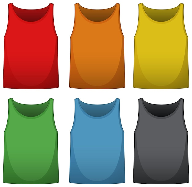 Camisas sem mangas em seis cores diferentes