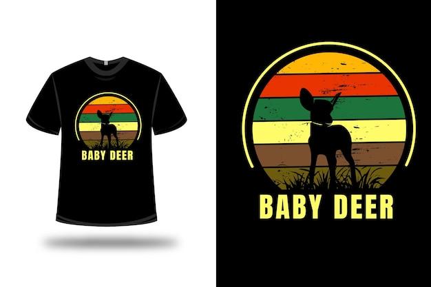 Camiseta bebê cervo cor amarelo laranja e verde