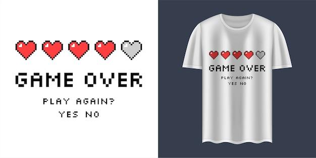Camiseta branca com texto game over